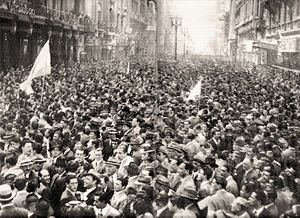 Argentine general election, 1946 - Supporters of the Democratic Union gather on May Avenue in Buenos Aires. This 1945 alliance of conservatives and leftists was tenuously united only by its opposition to Perón.