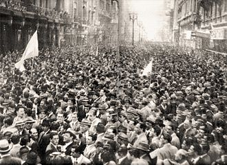 1946 Argentine general election - Supporters of the Democratic Union gather on May Avenue in Buenos Aires. This 1945 alliance of conservatives and leftists was tenuously united only by its opposition to Perón.