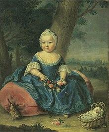 Maria Teresa a tre anni nel giardino del palazzo di Hofburg.