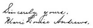 Marie Louise Andrews - Image: Marie Louise Andrews signature