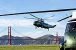 Marine One arrives at Crissy Field landing zone in San Francisco, California.jpg