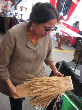 Ho-Chunk - Martha Gradolf, a contemporary weaver, is enrolled in the Winnebago Tribe of Nebraska.