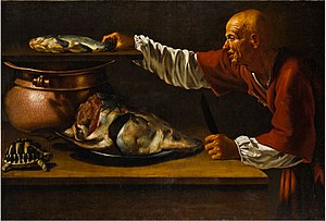 Master of the Gamblers - A kitchen interior with a sturgeon, a turtle, and the figure of an old man in red