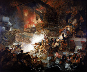 Battle of the Nile - The Battle of the Nile: Destruction of 'L'Orient', 1 August 1798, Mather Brown, 1825, National Maritime Museum