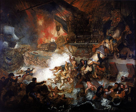 The Battle of the Nile: Destruction of 'L'Orient', 1 August 1798, Mather Brown, 1825, National Maritime Museum Mather Brown - Battle of the Nile.jpg