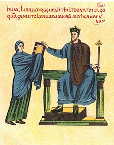 Matylda wrecza mieszkowi II ksiege liturgiczna.jpg