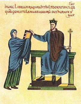 Matylda wrecza mieszkowi II ksiege liturgiczna
