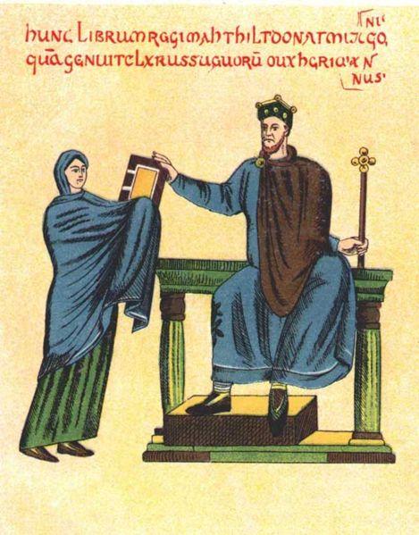 Mieszko II otrzymuje księgę od Matyldy szwabskiej