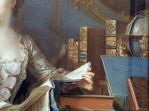 """Henriade - Portrait of Madame de Pompadour, detail with """"Henriade"""" edition"""