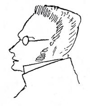 19th century philosopher Max Stirner, a prominent early individualist anarchist (sketch by Friedrich Engels).