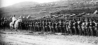 Army of the Levant - French General Henri Gouraud on horseback inspecting French colonial troops at Maysalun.