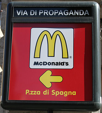 Criticism of advertising - Advertising for McDonald's on the Via di Propaganda, Rome, Italy