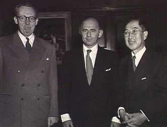 William McMahon - McMahon (centre) with Prince Tokugawa (right) of the Japanese imperial family at the Australian embassy in Japan in 1952
