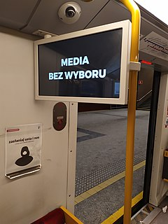 Media Without Choice February 2021 protest against advertising taxation in Poland