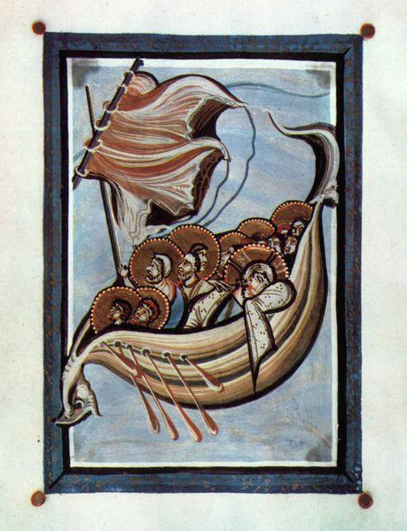 MEISTER des Hitda Evangeliars Evangeliar der Äbtissin Hitda von Meschede, Der Sturm auf dem Meere, um1020