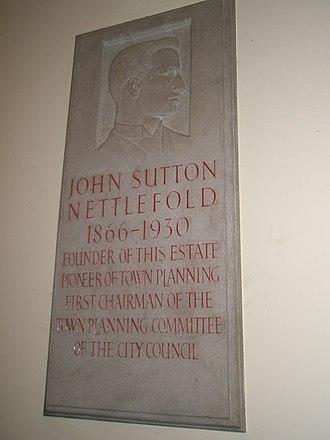 Moor Pool - Memorial plaque to John Sutton Nettlefold within Moorpool Hall