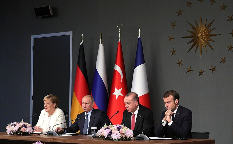 File:Merkel, Putin, Erdoğan and Macron during the joint press release.jpg
