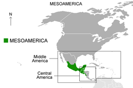 We can see that Mesoamerica its between Zacatecas and Aguascalientes, Mexico, & Nicaragua and El Salvador