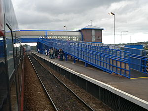 MetroCentre railway station - MetroCentre railway station viewed from a passing train.