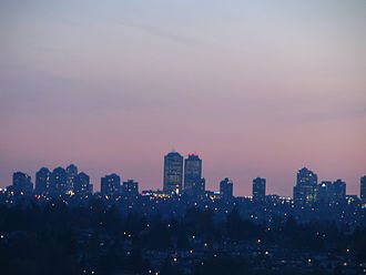 Burnaby - Metrotown at sunset, as seen from Lochdale