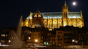 Metz Cathedral - Saint Stephen cathedral at night under a full moon