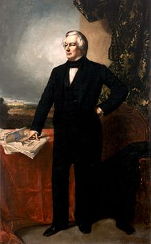The official White House Portrait of Fillmore standing and looking to his right