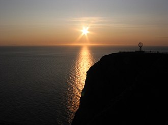Midnight sun - Midnight sun at the North Cape on the island of Magerøya in Norway