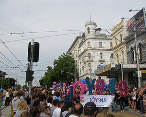 Joy 94.9 - JOY 94.9 float at Midsumma Pride March on Fitzroy Street, St Kilda