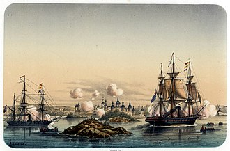 HMS Miranda (1851) - Attack on the small town of Novitska (near Kola) by the corvette HMS Brisk and Miranda, August 1854.