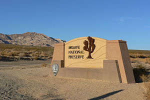Sign for Mojave National Preserve, on Kelbaker...