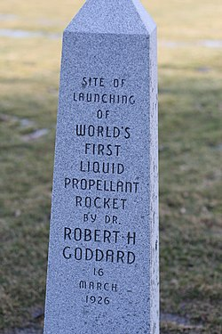 Monument for Robert H. Goddard's First Rocket Launch 16 Mar 1969.JPG