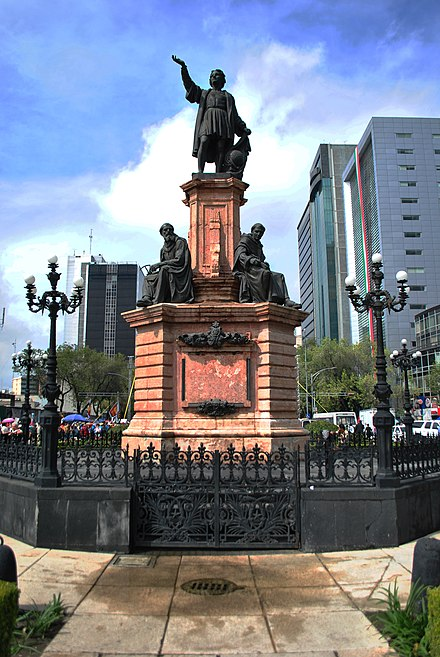 Maximillian planned the monument to Columbus for the grand boulevard, now called Paseo de la Reforma. It was built during the regime of Porfirio Diaz. Monumento a Colon Paseo de la Reforma Ciudad de Mexico.jpg