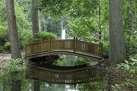 Moon Bridge and Fountain, Friendship Pond, Norfolk Botanical Garden