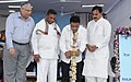Mukul Roy lighting the lamp to inaugurate the 57th Railway Week National Function-2012, in New Delhi. The Ministers of State for Railways, Shri K.H. Munniyappa and Shri Bharatsinh Solanki and the Chairman, Railway Board.jpg