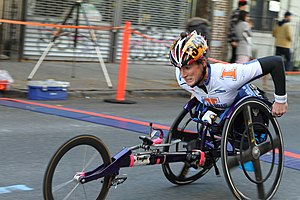 Assistive technology in sport - A New York City Marathon competitor uses a racing wheelchair.