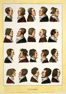 Four rows of caricatured profiles of men in 19th-century jackets and cravats, facing alternately right and left