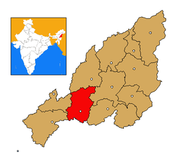Kohima district's location in Nagaland