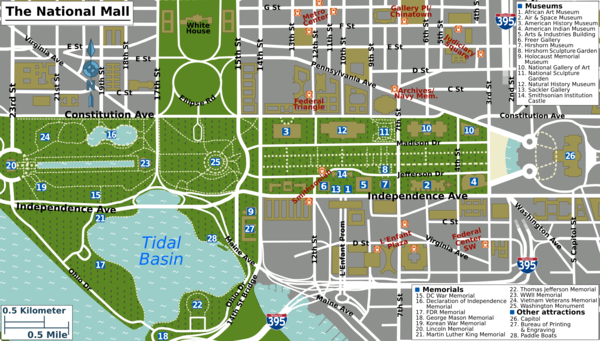 Washington DCNational Mall Travel guide at Wikivoyage – Washington DC Tourist Map