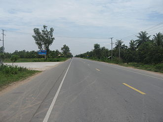 Transport in Cambodia - National Highway 1 - Kien Svay, Kandal Province.