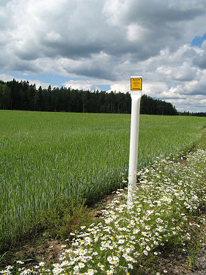 Gasum - Image: Natural gas pipe mark, Finland