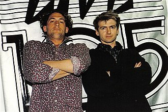 KITS - Live 105/KITS DJ Steve Masters with Neil Finn of Crowded House, at the station's offices, in April 1987