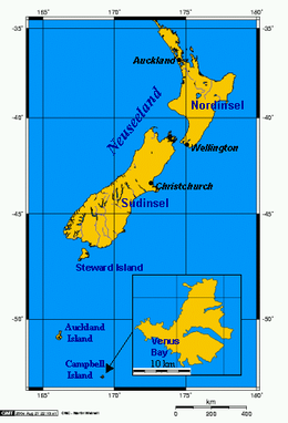 Location relative to New Zealand and other outlying islands