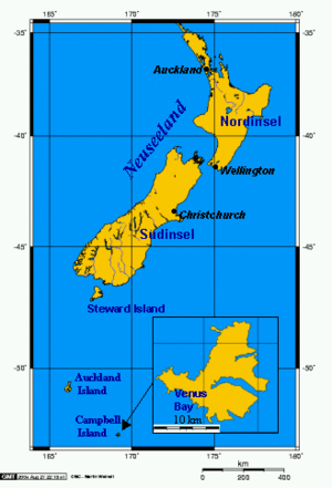 Campbell Islands - Image: Neuseeland mit Campbell