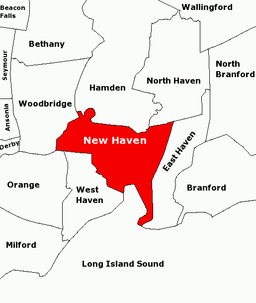 NewHavenAreaOutlineMap