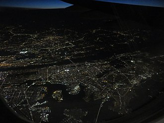 The Bronx - Aerial view of The Bronx from the east at night