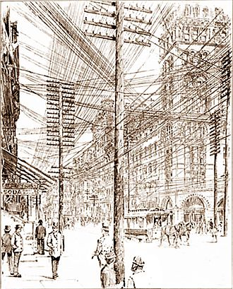 Electric power transmission - New York City streets in 1890. Besides telegraph lines, multiple electric lines were required for each class of device requiring different voltages
