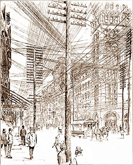 New York City streets in 1890. Besides telegraph lines, multiple electric lines were required for each class of device requiring different voltages New York utility lines in 1890.jpg