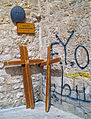 Ninth Station of the Cross, Via Dolorosa, with graffitti.jpg