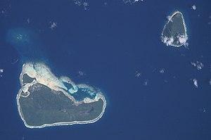 Satellitenbild von Tafahi (oben rechts) und der Nachbarinsel Niuatoputapu