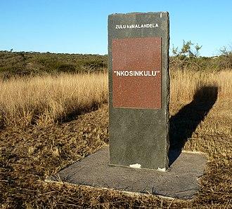 Zulu kaMalandela - A reminder outside the main entrance of uMgungundlovu, a short distance from his grave